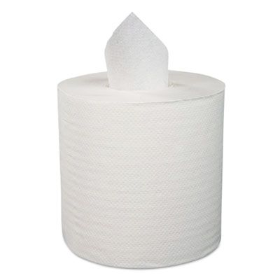 Boardwalk 410322 Center Pull Roll Paper Hand Towels, 2 Ply, 600 / Roll, White - 6 / Case