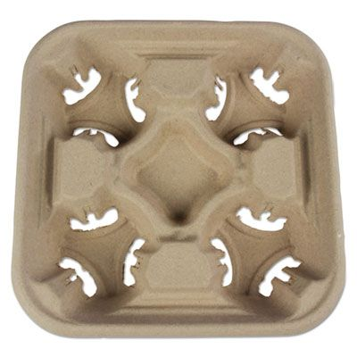 Boardwalk 4CUPCARRIER Cup Holder Tray for Four 8-32 oz Cups, Molded Fiber - 300 / Case