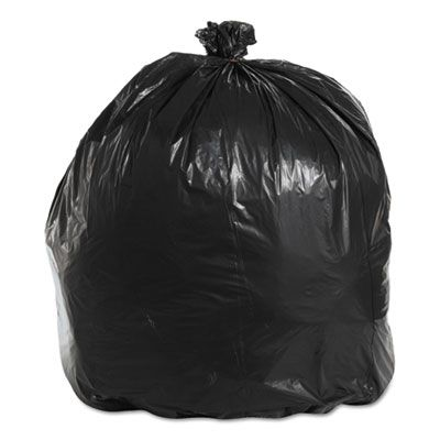 """Boardwalk 521 45 Gallon Trash Can Liners / Garbage Bags, 1.6 Mil Repro, 40"""" x 46"""", Black - 100 / Case"""
