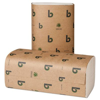 "Boardwalk 52GREEN Singlefold Paper Hand Towels, 9-1/8"" x 10-1/4"", White - 4000 / Case"