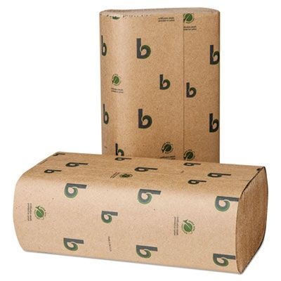 "Boardwalk 53GREEN Multifold Paper Hand Towels, 9-1/8"" x 9-1/2"", Brown - 4000 / Case"