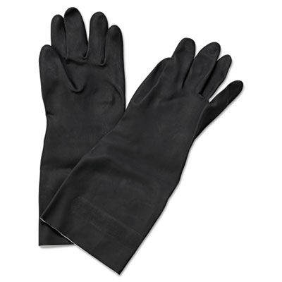 "Boardwalk 543M Neoprene Flock-Lined Gloves, Long-Sleeved, 12"", Size Medium, Black, 12 / Case"