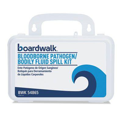 """Boardwalk 54865 Bloodborne Pathogen Clean Up Kit, 30 Pieces, 3"""" x 8"""" x 5"""", White, 1 / Case"""
