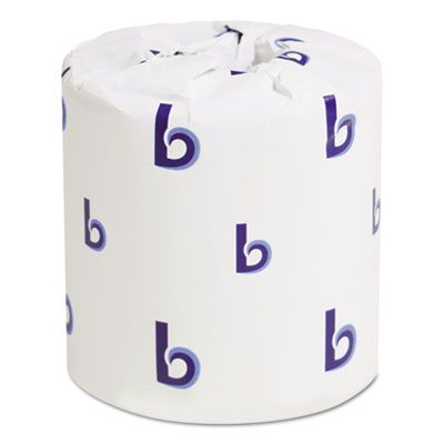 """Boardwalk 6155B 2 Ply Toilet Paper, Individually Wrapped, 500 Sheets / Standard Roll, 4.5"""" x 4.5"""", White - 96 / Case"""