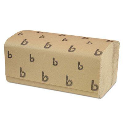 """Boardwalk 6210 Singlefold Paper Hand Towels, 9"""" x 9-9/20"""", Brown - 4000 / Case"""