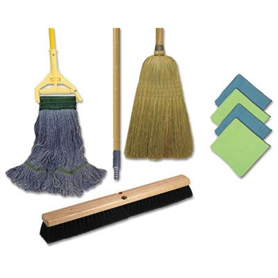 Boardwalk CLEANKIT Cleaning Kit with Mop, Broom, and Wipes - 1 / Case