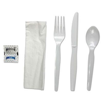 Boardwalk FKTNSHWPSWH Wrapped Cutlery Kit, White Heavyweight Plastic Fork, Knife, Spoon, Napkin, Salt, Pepper - 250 / Case