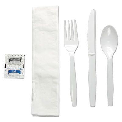Boardwalk FKTNSMWPSWH Wrapped Cutlery Kit, White Plastic Fork, Knife, Teaspoon, Napkin, Salt, Pepper - 250 / Case