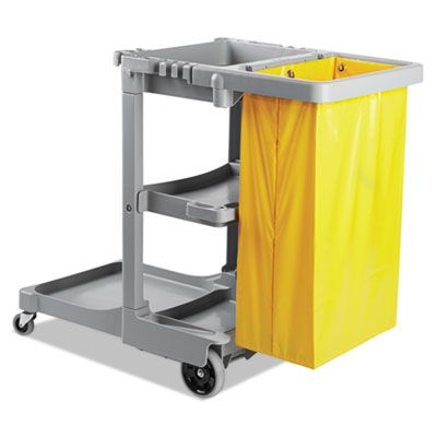 "Boardwalk JCARTGRA Janitor's Cart, Three Shelves, 22"" x 44"" x 38"", Gray - 1 / Case"