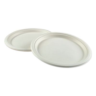 "Boardwalk PLATEWF10 10"" Bagasse Molded Fiber Dinner Plates, White - 500 / Case"