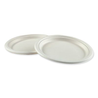 "Boardwalk PLATEWF9 9"" Bagasse Molded Fiber Lunch / Dinner Plate, White - 500 / Case"