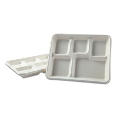 "Boardwalk TRAYWF128 Bagasse Molded Fiber Tray, 5 Compartment, 8"" x 12"", White - 500 / Case"