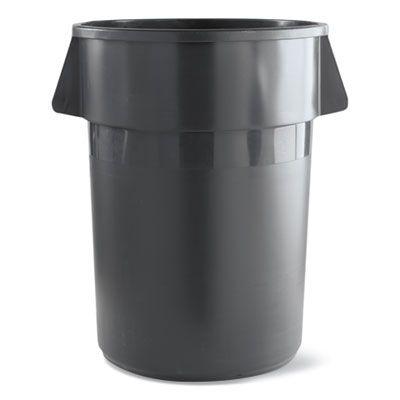 Boardwalk 32GLWRGRA 32 Gallon Round Waste Receptacle, LLDPE, Gray - 1 / Case