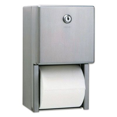 "Bobrick 2888 Stainless Steel 2-Roll Standard Toilet Paper Dispenser, 6-1/16"" x 5-15/16"" x 11"" - 1 / Case"