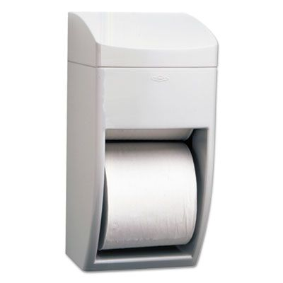"Bobrick 5288 Matrix Series Plastic Standard Toilet Paper Dispenser, 2-Roll, 6-1/4"" x 6-7/8"" x 13-1/2"", Gray - 1 / Case"