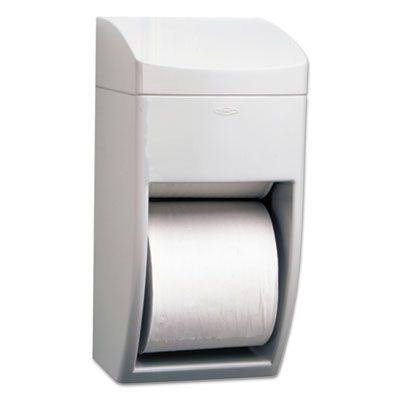 "Bobrick 5288 Matrix Series Plastic Standard Toilet Paper Dispenser, 2-Roll, 6-1/4"" x 6-7/8"" x 13-1/2"", Gray - 1 / Case"