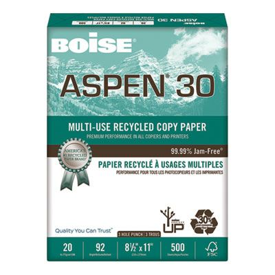 "Boise Cascade 054901P Aspen 30% Recycled Multi-Use Paper, 3HP, 92 Bright, 20 Lb, 8.5"" x 11"" Sheets, White - 5000 / Case"