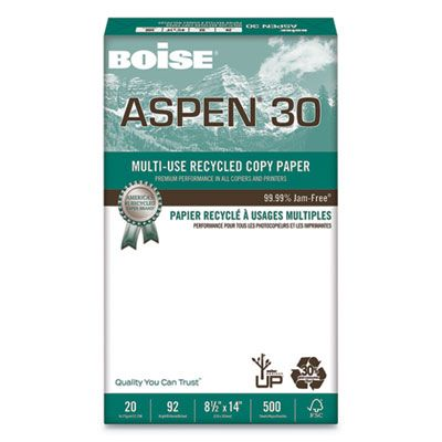 "Boise Cascade 054904 Aspen 30% Recycled Multi-Use Paper, 92 Bright, 20 Lb, 8-1/2"" x 14"" Sheets, White - 5000 / Case"