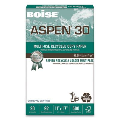 "Boise Cascade 054907 Aspen 30% Recycled Multi-Use Paper, 92 Bright, 20 Lb, 11"" x 17"" Sheets, White - 2500 / Case"