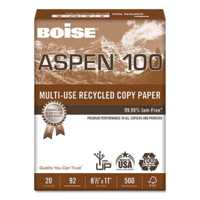 """Boise Cascade 054922 Aspen 100% Multi-Use Recycled Paper, 92 Bright, 20 Lb, 8-1/2"""" x 11"""" Sheets, White - 5000 / Case"""