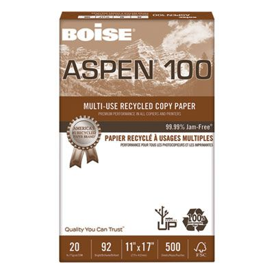 "Boise Cascade 054925 Aspen 100% Multi-Use Recycled Paper, 92 Bright, 20 Lb, 11"" x 17"" Sheets, White - 2500 / Case"