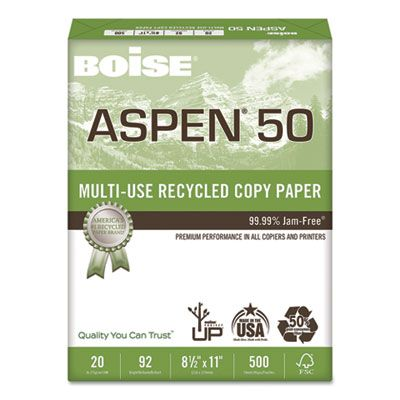 "Boise Cascade 055011 Aspen 50% Multi-Use Recycled Paper, 92 Bright, 20 Lb, 8-1/2"" x 11"" Sheets, White - 5000 / Case"
