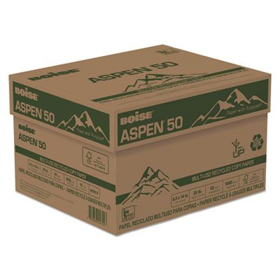 "Boise Cascade 055014 Aspen 50 Multi-Use Recycled Paper, 20 Lb, 8-1/2"" x 14"" Sheets, White - 5000 / Case"