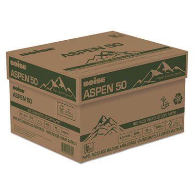 "Boise Cascade 055014 Aspen 50 Multi-Use Recycled Paper, 20 Lb, 8-1/2"" x 14"" Sheets, White - 5000 / Case"
