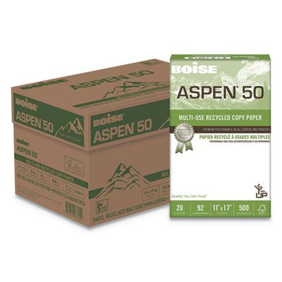"Boise Cascade 055017 Aspen 50% Multi-Use Recycled Paper, 20 Lb, 11"" x 17"" Sheets, White - 2500 / Case"