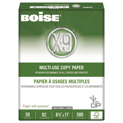 "Boise Cascade OX9001P X-9 Multi-Use Copy Paper, 3-Hole, 92 Bright, 20 Lb, 8-1/2"" x 11"" Sheets, White - 5000 / Case"