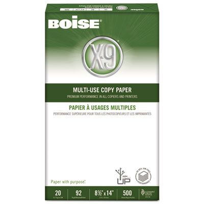 "Boise Cascade OX9004 X-9 Multi-Use Copy Paper, 92 Bright, 20 Lb, 8-1/2"" x 14"" Sheets, White - 5000 / Case"