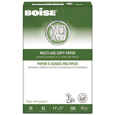 "Boise Cascade OX9007 X-9 Multi-Use Copy Paper, 92 Bright, 20 Lb, 11"" x 17"" Sheets, White - 2500 / Case"