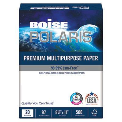 "Boise Cascade POL8511 Polaris Premium Multipurpose Paper, 20 Lb, 8-1/2"" x 11"" Sheets, White - 5000 / Case"