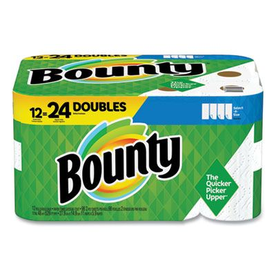 """P&G 66541 Bounty Select-a-Size Paper Towels, 2 Ply, 5.9"""" x 11"""", 98 / Roll, White - 12 / Case"""