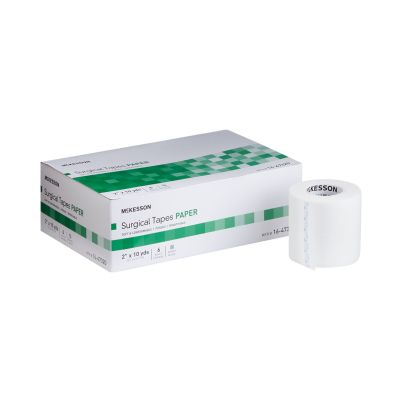 """McKesson 16-47320 Surgical Medical Tape, Air Permeable Paper, 2"""" x 10 Yds, White, NonSterile - 72 / Case"""