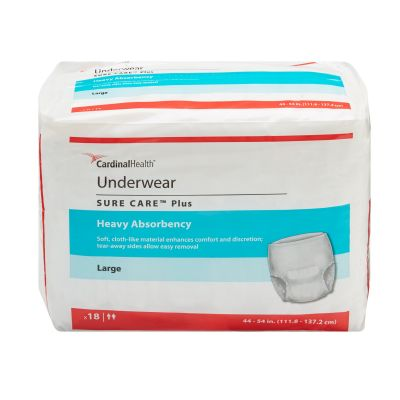 """Cardinal Health 1615A Sure Care Plus Protective Incontinence Underwear, Adult Unisex, Large (44 to 54""""), Heavy Absorbency - 18 / Case"""