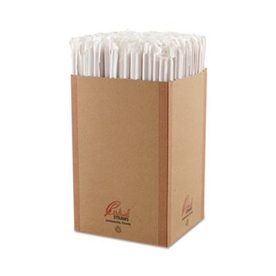 """Cardinal Straw 510773 10-1/4"""" Plastic Giant Straws, Wrapped, Red - 1200 / Case"""