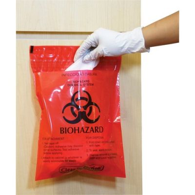 "CareTek CTRB042214 Biohazard Waste Bag, Peel/Stick, 12"" x 14"", 2 Mil, Red - 100 / Case"