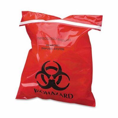 "CareTek CTRB042910 Biohazard Waste Bag, Peel/Stick, 9"" x 10"", Red - 100 / Case"