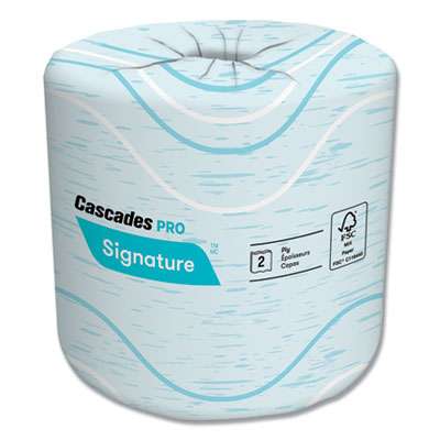 """Cascades B625 Signature Toilet Paper, 2 Ply, 400 Sheets / Roll, 4"""" x 4"""", White - 48 / Case"""
