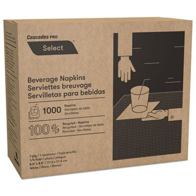 Cascades N010 Select Paper Beverage Napkins, 1 Ply, White - 4000 / Case