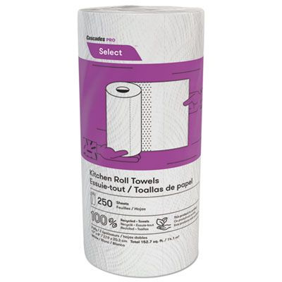 Cascades K250 Select Kitchen Roll Paper Towels, 2 Ply, 250 Sheets / Roll, White - 12 / Case