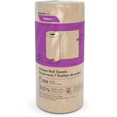 "Cascades K251 Kitchen Roll Paper Towels, 11"" x 8"", 250 Sheets / Roll, Brown - 12 / Case"