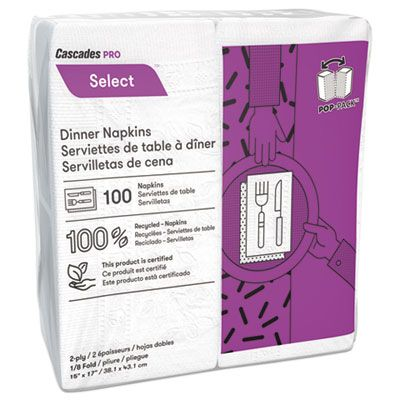 Cascades N210 Select Paper Dinner Napkins, 2 Ply, White - 3000 / Case