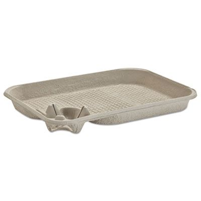 """Huhtamaki Chinet 20961 Focus Strongholder Food Trays with 8-22 oz Cup Carrier, 15"""" x 11"""" x 2"""" - 200 / Case"""