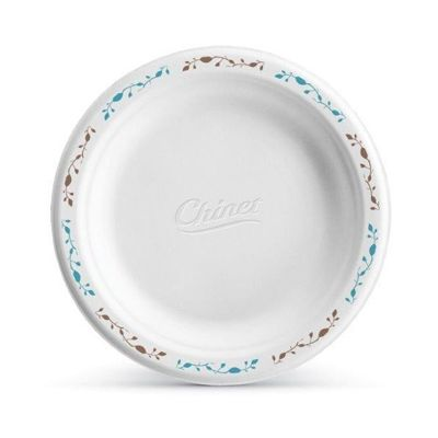 "Huhtamaki Chinet 22515 Vines 6"" Paper Plates, Molded Fiber, White with Rim Design - 1000 / Case"