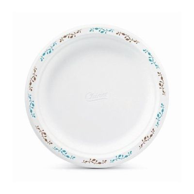 "Huhtamaki Chinet 22516 Vines 8.75"" Paper Plates, Molded Fiber, White with Rim Design - 500 / Case"