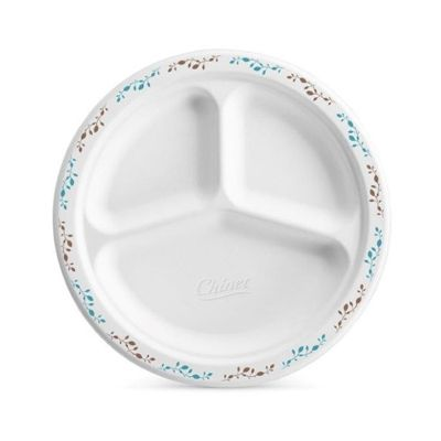 "Huhtamaki Chinet 22517 Vines 9.25"" Paper Plates with 3 Compartments, Molded Fiber, White with Rim Design - 500 / Case"