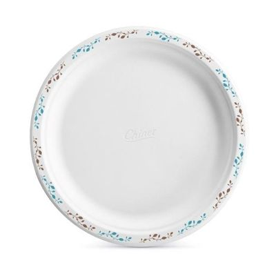 "Huhtamaki Chinet 22519 Vines 10.5"" Paper Plates, Molded Fiber, White with Rim Design - 500 / Case"