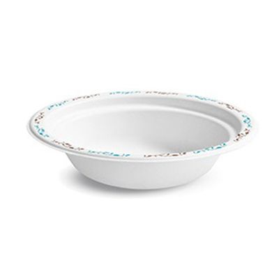 Huhtamaki Chinet 22521 Vines 12 oz Paper Bowls, Molded Fiber, White with Rim Design - 1000 / Case